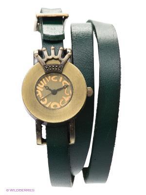 Часы на двойном ремешке Queen (зеленые) Kawaii Factory. Цвет: темно-зеленый, бронзовый