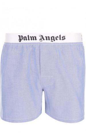 Хлопковые боксеры свободного кроя Palm Angels. Цвет: голубой