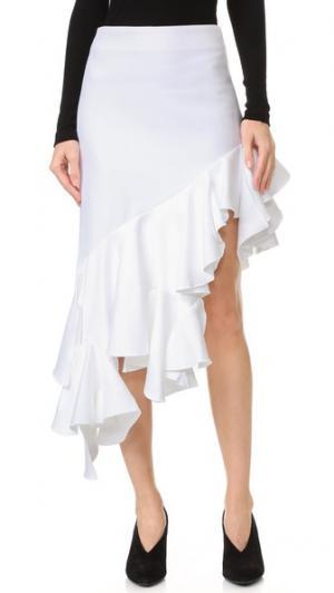 Асимметричная юбка с оборкой Jacquemus. Цвет: белый