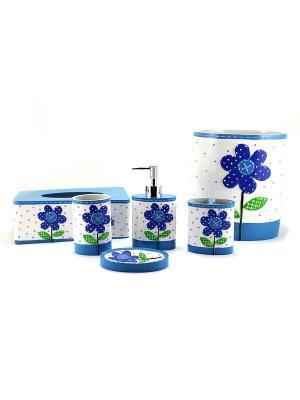 Набор для ванной из  6 предметов Ромашка essentic арт.51133. Цвет: синий, белый