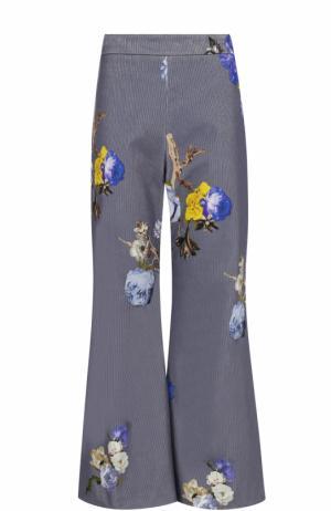 Вельветовые расклешенные брюки с принтом Acne Studios. Цвет: темно-голубой