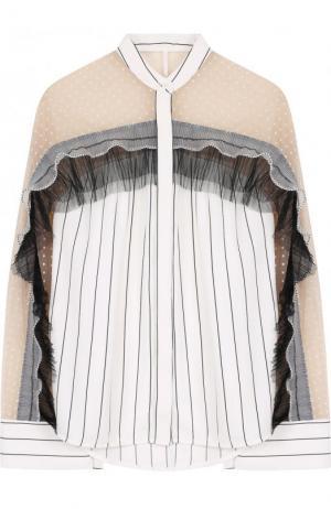 Блуза с воротником-стойкой и оборками self-portrait. Цвет: черно-белый