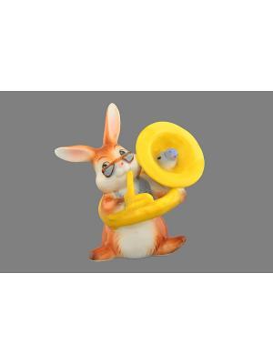 Фигурка декоративная Зайка-трубач Elan Gallery. Цвет: белый, коричневый, желтый