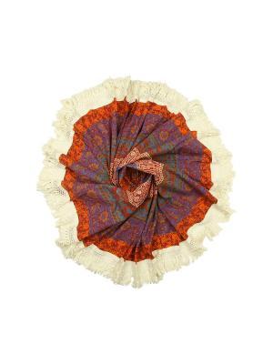 Покрывало круглое диаметр 150 см ETHNIC CHIC. Цвет: бордовый