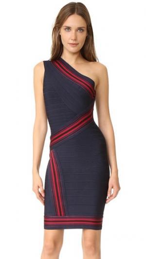 Платье с открытым плечом Kayla Herve Leger. Цвет: индиго, комбинированный