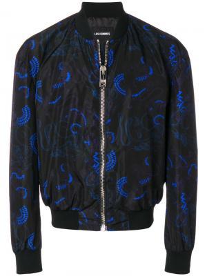 Куртка-бомбер с принтом Les Hommes. Цвет: чёрный