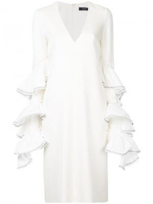 Платье с V-образным вырезом и оборкой Molotov Ellery. Цвет: белый