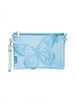 Клатч Flossy Butterfly Sophia Webster. Цвет: синий