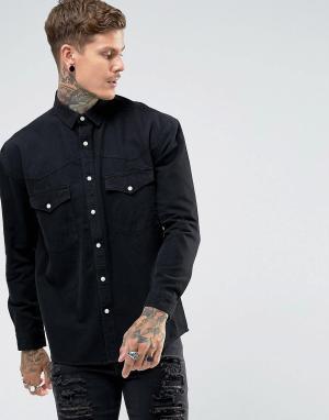 ASOS Джинсовая оверсайз-рубашка в стиле вестерн. Цвет: черный