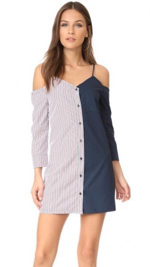 Платье-рубашка в комбинированную полоску ENGLISH FACTORY. Цвет: голубой