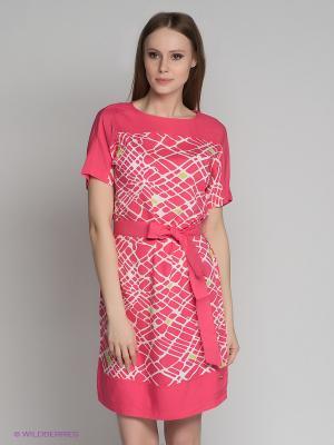 Платье Finn Flare. Цвет: розовый, белый