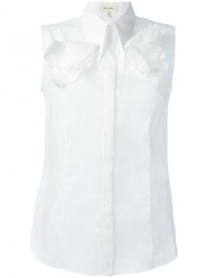 Рубашка без рукавов с геометрическим воротником Delpozo. Цвет: белый