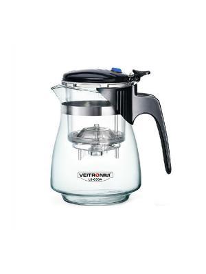 Стеклянный заварочный чайник Veitron с кнопкой, 650 мл, артикул LS-650A. Цвет: черный