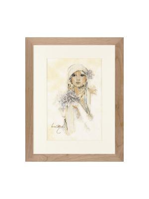 Набор для вышивания Dame met lila bloem /Девушка с сиренью/ 20*30см Vervaco. Цвет: светло-коричневый, бежевый, серый