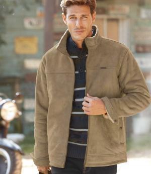 Замшевая Куртка с Подкладкой из Шерпы AFM. Цвет: бежевыи