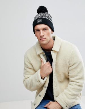 ASOS Черно-белая шапка-бини с узором Фэйр-Айл. Цвет: черный