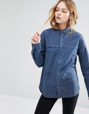 Rollas Джинсовая рубашка. Цвет: синий