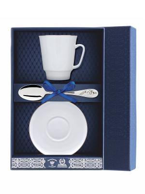 Набор чайный Майская-Золотой кантик 3 предмета + футляр АргентА. Цвет: серебристый