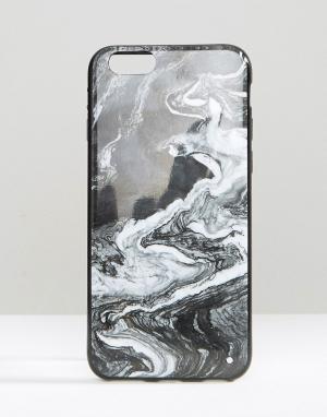 SIGNATURE Чехол для iPhone 6 с мраморным принтом. Цвет: черный