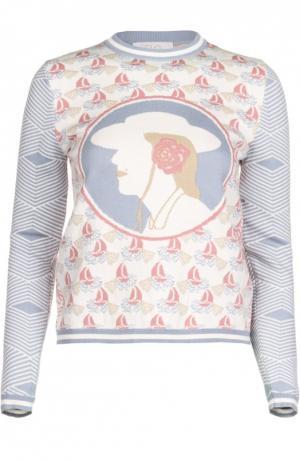 Хлопковый приталенный пуловер с принтом Tak.Ori. Цвет: светло-голубой