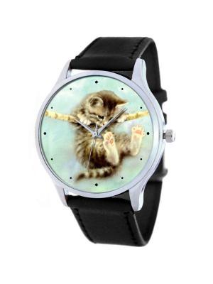 Дизайнерские часы Котёнок на ветке Tina Bolotina. Цвет: черный, бирюзовый, серо-коричневый