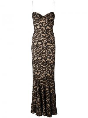 Кружевное длинное платье Norma Kamali. Цвет: чёрный