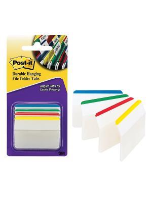 Закладки плотн. для файлов POST-IT INDEX, белые с цв. полосой, 50мм, 4 цв.х6 шт (686F-1EU) ,3M. Цвет: белый