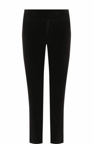 Укороченные бархатные брюки прямого кроя Alice + Olivia. Цвет: черный