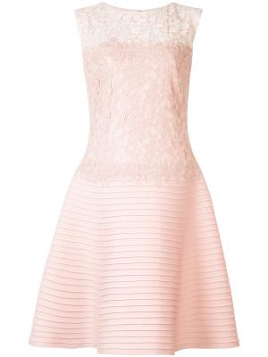 Приталенное платье с кружевной панелью Tadashi Shoji. Цвет: розовый и фиолетовый