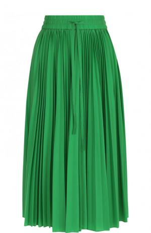 Однотонная плиссированная юбка-миди REDVALENTINO. Цвет: зеленый