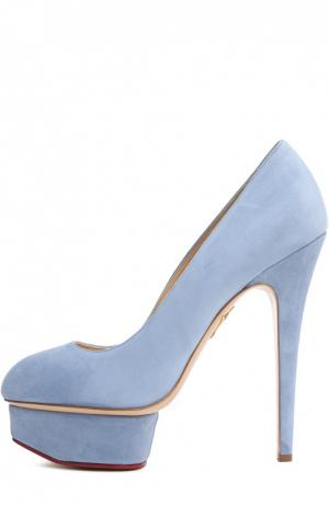 Туфли с украшением на щиколотку Charlotte Olympia. Цвет: голубой