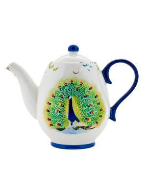 Чайник Павлин 900мл в п/у Elff Ceramics. Цвет: белый, зеленый