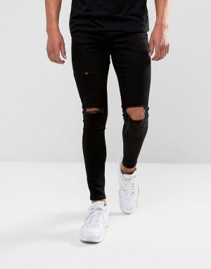 Gym King Рваные супероблегающие джинсы черного цвета. Цвет: черный