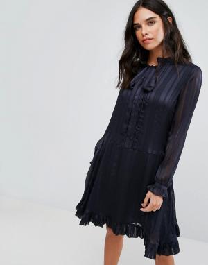 Y.A.S Платье с длинными рукавами и бантом. Цвет: темно-синий