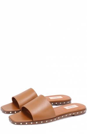 Кожаные шлепанцы Soul Rockstud с заклепками Valentino. Цвет: коричневый