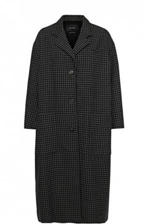 Удлиненное пальто свободного кроя в клетку Isabel Marant. Цвет: черный