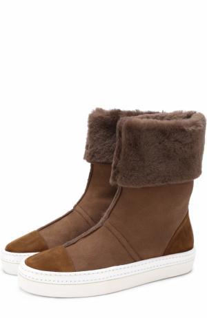 Замшевые ботинки Idea на контрастной подошве Walter Steiger. Цвет: коричневый