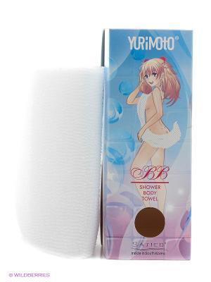 Мочалка массажная для глубокого очищения кожи и профилактики целлюлита YURIMOTO BB BODY TOWEL Satico. Цвет: белый