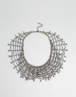 LoveRocks London Эффектное ожерелье в несколько рядов со стразами. Цвет: серебряный