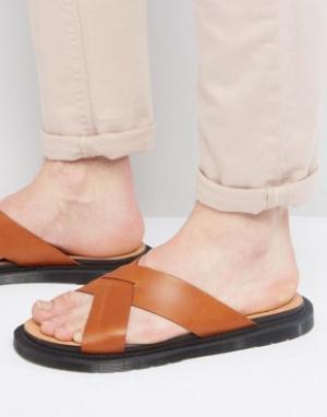 Dr Martens Светло-коричневые сандалии Platt. Цвет: рыжий