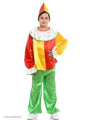 Карнавальный костюм Петрушка Волшебный мир. Цвет: зеленый, желтый
