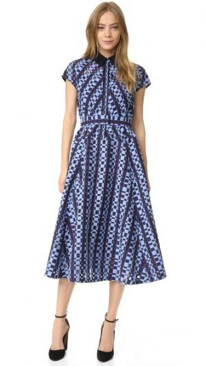 Платье-рубашка с поясом Lela Rose. Цвет: темно-синий/фиолетово-голубой