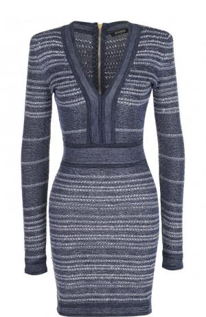 Вязаное платье-футляр с длинным рукавом Balmain. Цвет: голубой