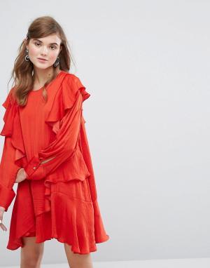 Sister jane Платье с длинным рукавом и оборками. Цвет: красный