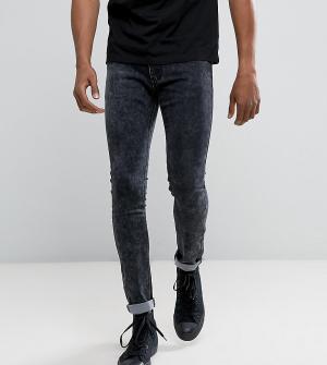 Liquor N Poker Серые джинсы скинни с эффектом кислотной стирки. Цвет: серый