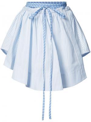 Плиссированная юбка в полоску Alexander Wang. Цвет: синий