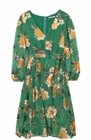 Приталенное платье-миди с поясом и принтом Alice + Olivia. Цвет: зеленый