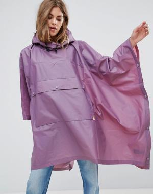 Hunter Прозрачный полиуретановый дождевик-пончо с карманом. Цвет: фиолетовый