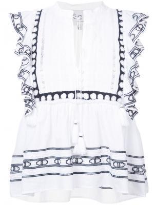 Блузка с бахромой Sea. Цвет: белый