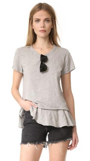 Многослойная футболка с округлым вырезом Wilt. Цвет: серый меланжевый
